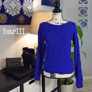 Bar III electric blue knit sweater size Small